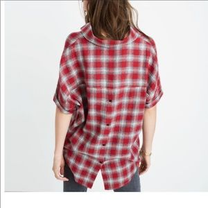 Madewell Courier Button Back Flannel Top Small